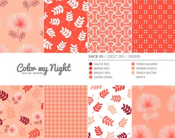 Digital Paper Red 'Pack05' Flowers, Leaves, Dots & Geometrical Scrapbook Backgrounds for Invitations, Scrapbooking, Crafts...