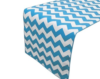 Zen Creative Designs Premium Cotton Table Top Runner Zig-Zag Chevron Turquoise