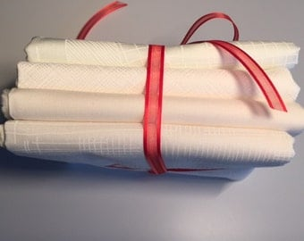 WHITE 4 piece Fat Quarter or Half Yard bundle of Carkai, Kona, Architextures fabric from  Robert Kaufman