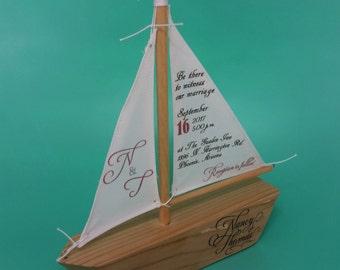 Sailboat Invitations #B507 (Sample) / Wedding Invitations, Unique Invitations, Unique Wedding Invitations, Handmade Invitations