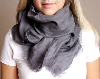 Summer linen scarf dark grey rosewood spring gift idea soft natural