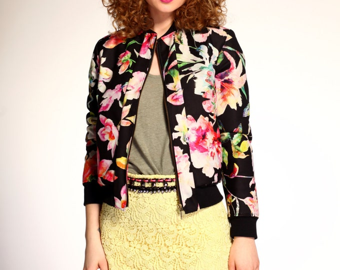 SALE/ Floral bomber jacket
