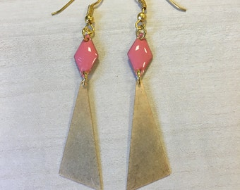Earrings coral diamond and triangle graphics