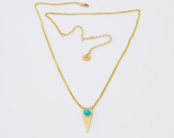 Stone Amazonite necklace / plated in 24 k gold.