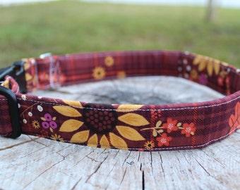 Sunflower Dog Collar - Fall Dog Collar - Autumn Dog Collar - Fall Dog Harness -  Fall Dog Leash - Leaves Dog Collar - Sunflower Leash