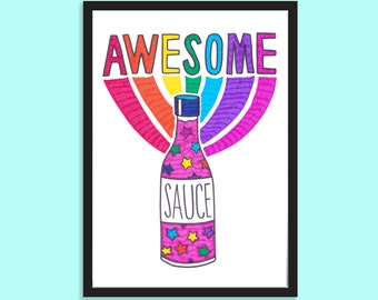 Awesome sauce! Gifts for her, Gifts for friends, Best friend gift, Fun, Rainbow, Typographic, Illustrative print