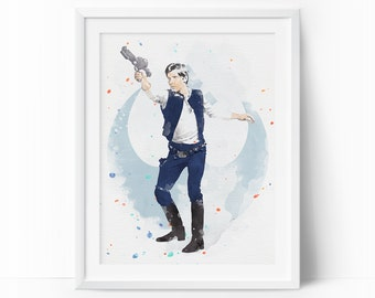 Han Solo, Han Solo Printable, Han Solo Art, Star Wars Han Solo, Star Wars Watercolor, Nursery printable, Han Solo Print, Nursery Room Decor