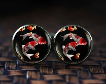 Japanese Koi Fish cufflinks, Koi Fish art cufflinks, Japanese art cufflinks, Asian Art cufflinks, Fish Water cufflinks