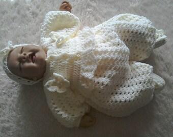 crocheted 0-3 month 4 piece set