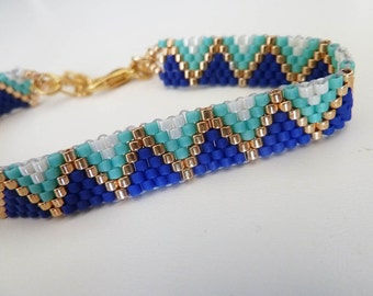 ethnic woven gipsy blue, turquoise and gold bracelet
