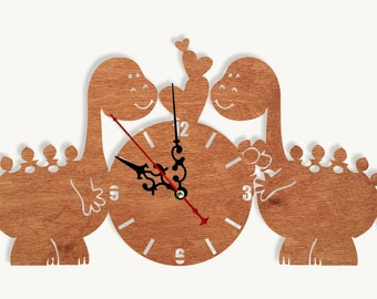 Wooden wall clock love dino