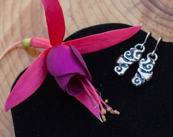 Paloma Sterling Silver Earrings, silver earrings dangle, 3d printed earrings, silver earrings handmade, Art Nouveau earrings