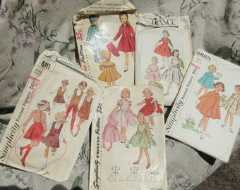 vintage patterns for girls, all size six, five patterns,  adorable, classic, 1950's, 1960' , Simplicity,