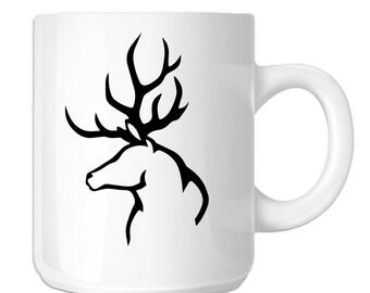 Hunting Deer Buck Antlers Silhouette (SP-00325) 11 OZ Novelty Coffee Mug