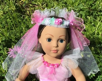 American Girl Doll Flower Wreath With Veil