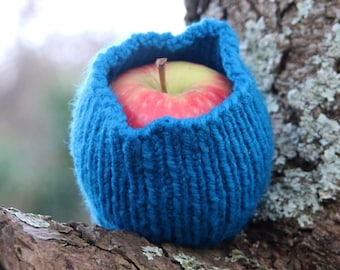 Blue hand knitted fruit sock - fruit protector