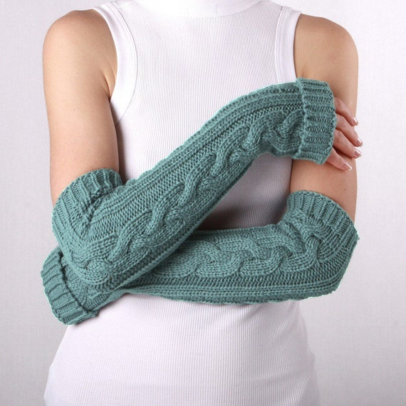 Long arm warmers Turquoise Fingerless Gloves Womens Arm Warmers with braids, Winter Arm Warmers, Turquoise Gloves, Fingerless Gloves