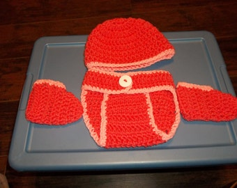 Crochet diaper cover with matching booties and cap set