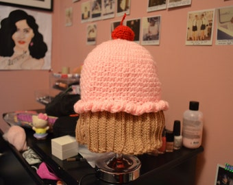 Pink and Brown Cupcake Hat with Cherry