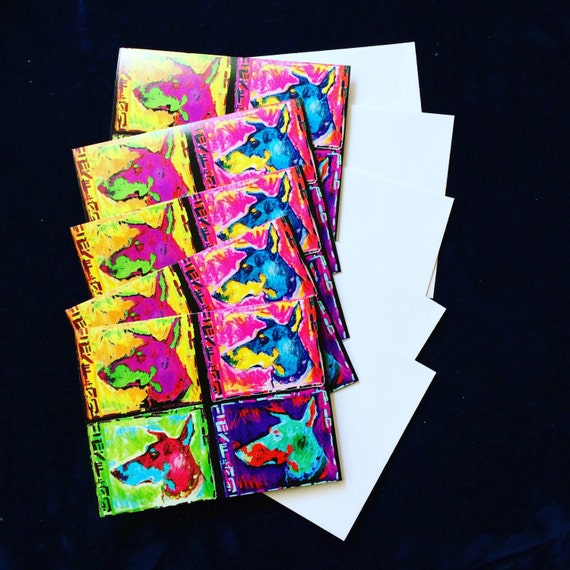 Five (5) greeting cards and envelopes of Four Doberman Smiles A2 size ...