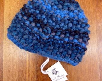 Midnight blue baby bonnet size 6 months