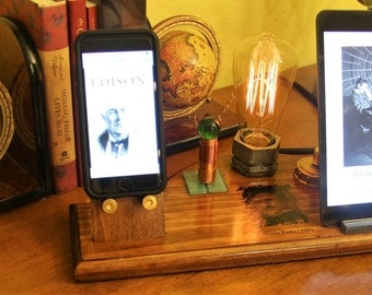 Tesla Coil Commemorative/Edison / Steam Punk Style iPad / iPhone Dock Station