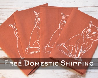Orange Cotton Fox Napkins - Set of 4