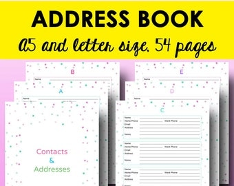 Address Book Printable Contacts Page, A5 Planner Printable Address Pages, A5 Contact List, Filofax Inserts, Letter Size, Instant Download