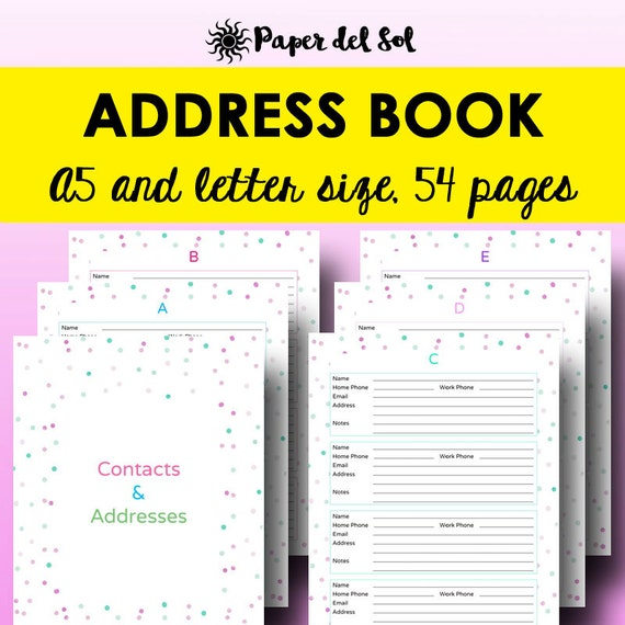 Printable Address Book Cover : Address book printable contacts page a planner