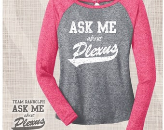 Plexus Baseball Tshirt, Plexus Microburn Raglan, Plexus Swag Tshirt, Baseball Tshirt, Microburn Fabric, Unique Fabric, Plexus 3/4 Sleeve Tee