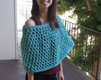 Teal Crocheted Poncho