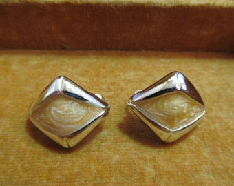 Vintage Silver-toned with tan stone - clip earrings