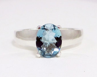 Aquamarine Oval Comfort Fit Ring Sterling Silver
