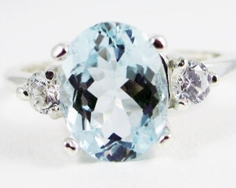 Aquamarine and CZ Ring Sterling Silver