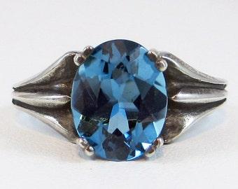 Oxidized London Blue Topaz Ring, 925 Sterling Silver, December Birthstone Ring, Oxidized Sterling Silver, Oxidized Topaz Ring, 925 Ring