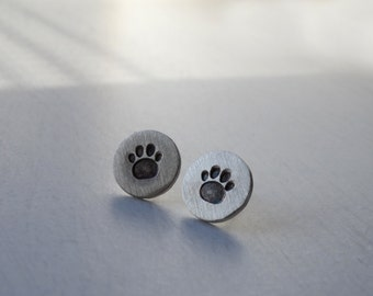 Silver footprint earrings, Silver pet earrings, Sterling silver earrings, Footprint earrings, Stud earrings animal Footprint, Gifts for her