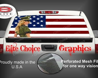 Sexy Military Girl American Flag Rear Window Graphic Tint Decal Sticker Truck SUV Van Car