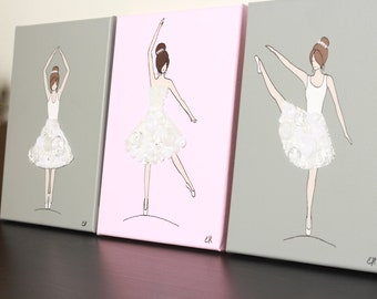 Button Ballerinas in White Tutus on Light Pink & Gray Backgrounds x3