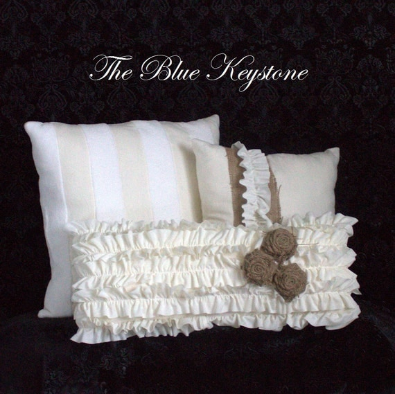 White Decorative Pillows For Bed : Throw Pillows Off White Pillows Bed Pillow by thebluekeystone