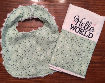 Girl's Mint Green and Navy Hello World Burp Cloth and Bib...Ready to Ship!