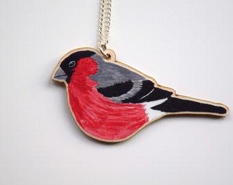 Wooden Bullfinch Garden Bird British Wildlife Necklace