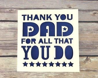 Father's Day Card, Thank You Dad, Dad Card, Fathers Day, Dad Birthday, Fathers Day Gift. Gift For Dad, Thanks Dad,