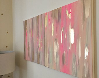 original abstract painting with gold foil detail // set of two