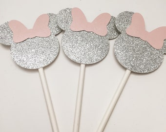 Silver and Pink Minnie Cupcake Toppers