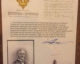 Authentic Hair from Jefferson Davis Civil War American History Collectible Louis Mushro- Guaranteed Authentic!