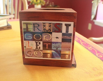 Recovery/Spiritually Oriented Wooden Tissue Box Holder