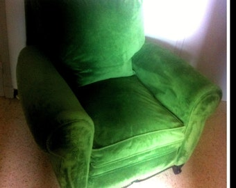 Pair of armchairs vintage Emerald Green Velvet.