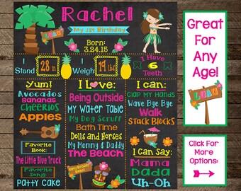 luau first birthday, luau birthday chalkboard, luau birthday party, luau theme party, luau second birthday, third, beach, tiki party, 1st, 2