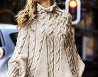 Cable Poncho, Knitting Pattern. PDF Instant Download.