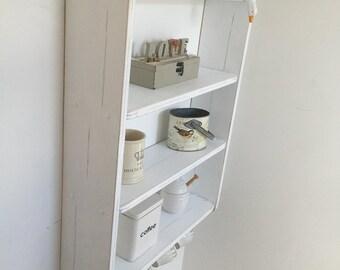 70 cm H x 54 cm W Pine White Shabby Chic Shelves with Cup Hooks, Kitchen, Bedroom, Bathroom Shelves.